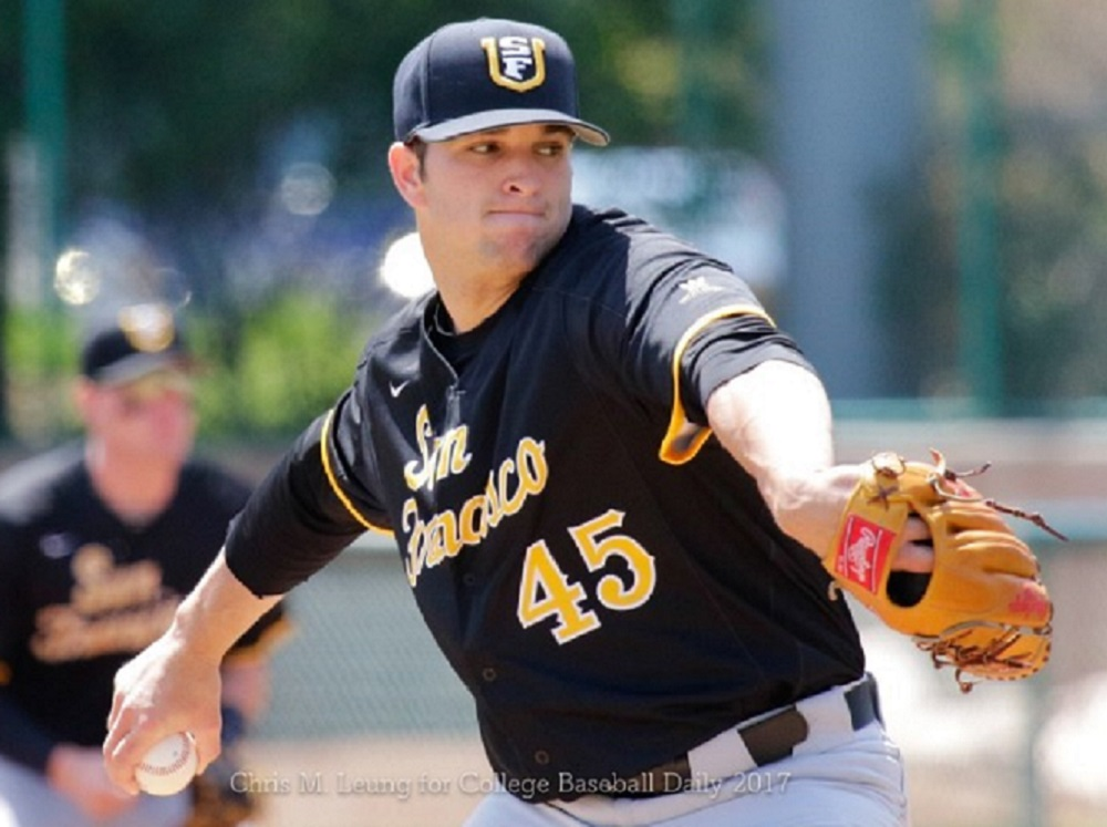 4/23/17: USF BASE Vs SCU At Stephen Schott Stadium In Santa Clara, CA. Dons Win 12-7. San Francisco Dons Pitcher Daniel Slominski (45)  Image By Chris M. Leung For USF Dons Baseball