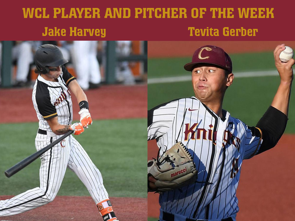 Jake Harvey And Tevita Gerber Named WCL Player And Pitcher Of The Week, Respectively